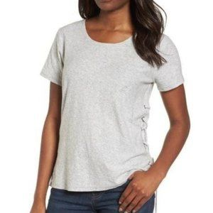 NWT Vince Camuto Lace-Up Grey Short Sleeve Tee XL